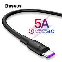 Baseus 5A sobrecargar USB tipo C para Huawei Mate 20 amigo 20 Pro P20 carga rápida 3,0 tipo- cable de carga rápida USB Cable