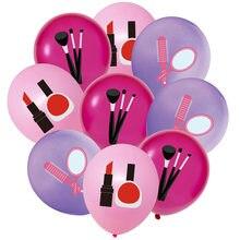 12 pçs maquiagem cosméticos balões para spa temático festa de aniversário decorações meninas dia beleza nupcial chuveiro suprimentos