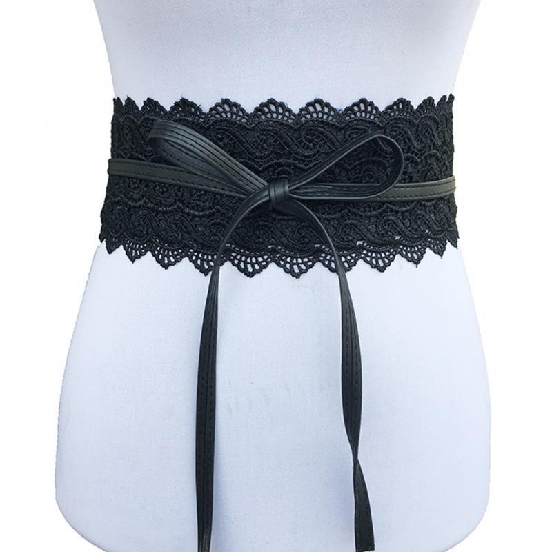 Elegant Lace Waist Belt Women Wear Resistant Corset Belt Lace + PU Leather Firmly Tie For Wedding Dress Easy Matching Wide Belt