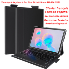 US/RU/SPA/GER/FR Bluetooth Trackpad Keyboard For Samsung Galaxy Tab S6 10.5 Inch SM 860 T865 Touchpad Keyboard Tablet With  Case