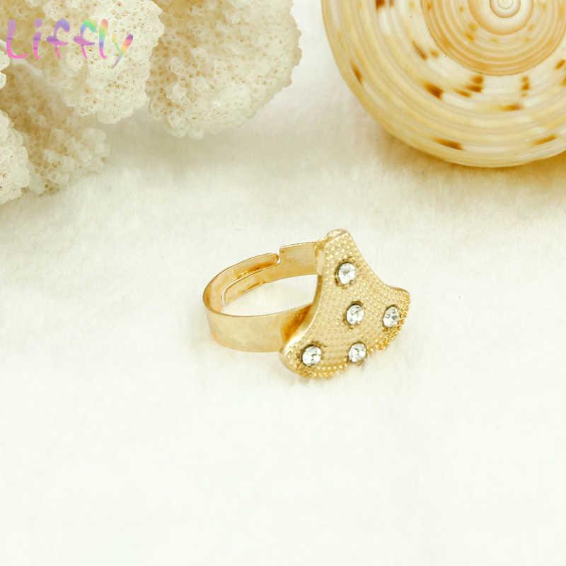 Liffly אפריקאי סטי תכשיטי אופנה נשים שרשרת צמיד עגילי טבעת Creative חתונה דובאי קריסטל תכשיטי סטים לכלה