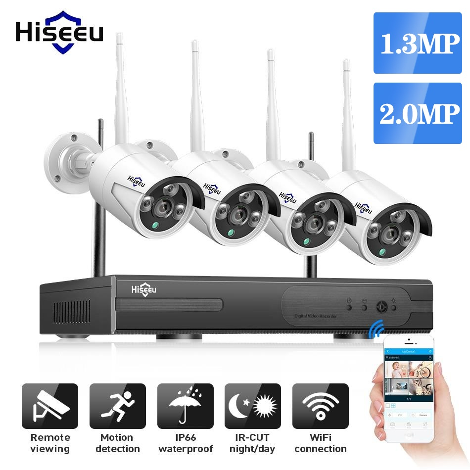 Hiseeu 2MP 1.3MP Wireless Security CCTV System Outdoor IP Camera WIFI Waterproof Video Surveillance CCTV Kit
