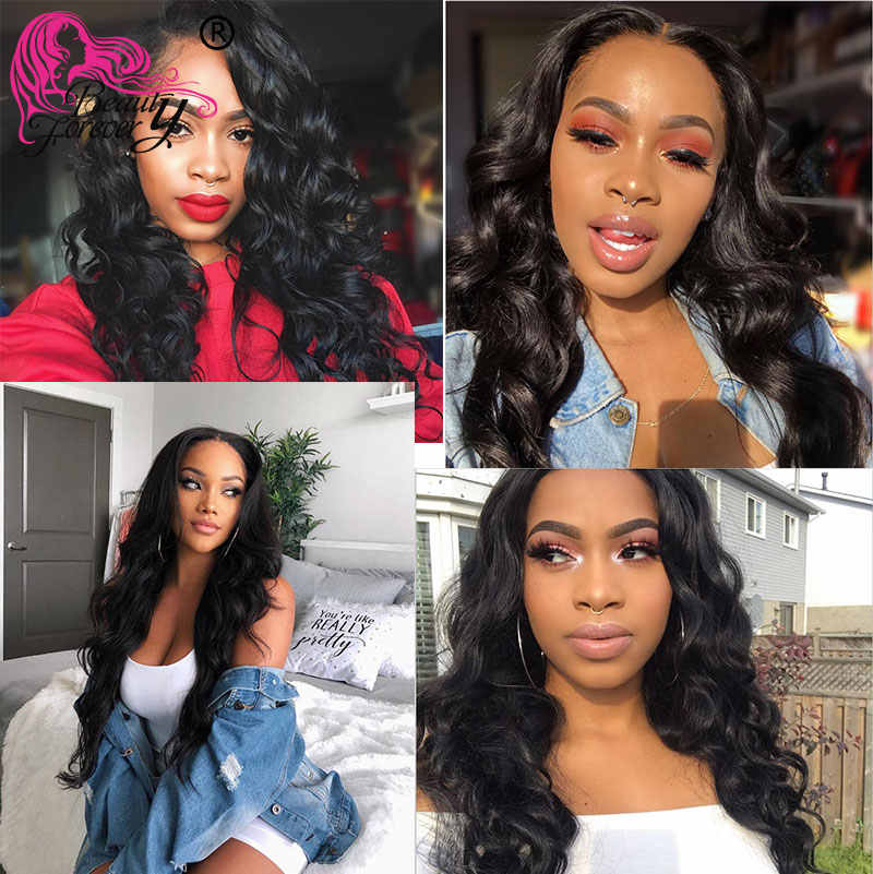 Beauty Forever Peruvian Body Wave Hair 3 Bundles With Lace Closure 100% Remy Human Hair With 4*4 Closure Free/Middle/Three Part