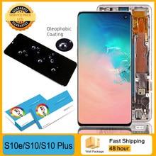 100% orijinal süper AMOLED LCD SAMSUNG Galaxy S10e S10 G9730 S10 + artı G9750 ekran dokunmatik ekran Digitizer onarım parçaları