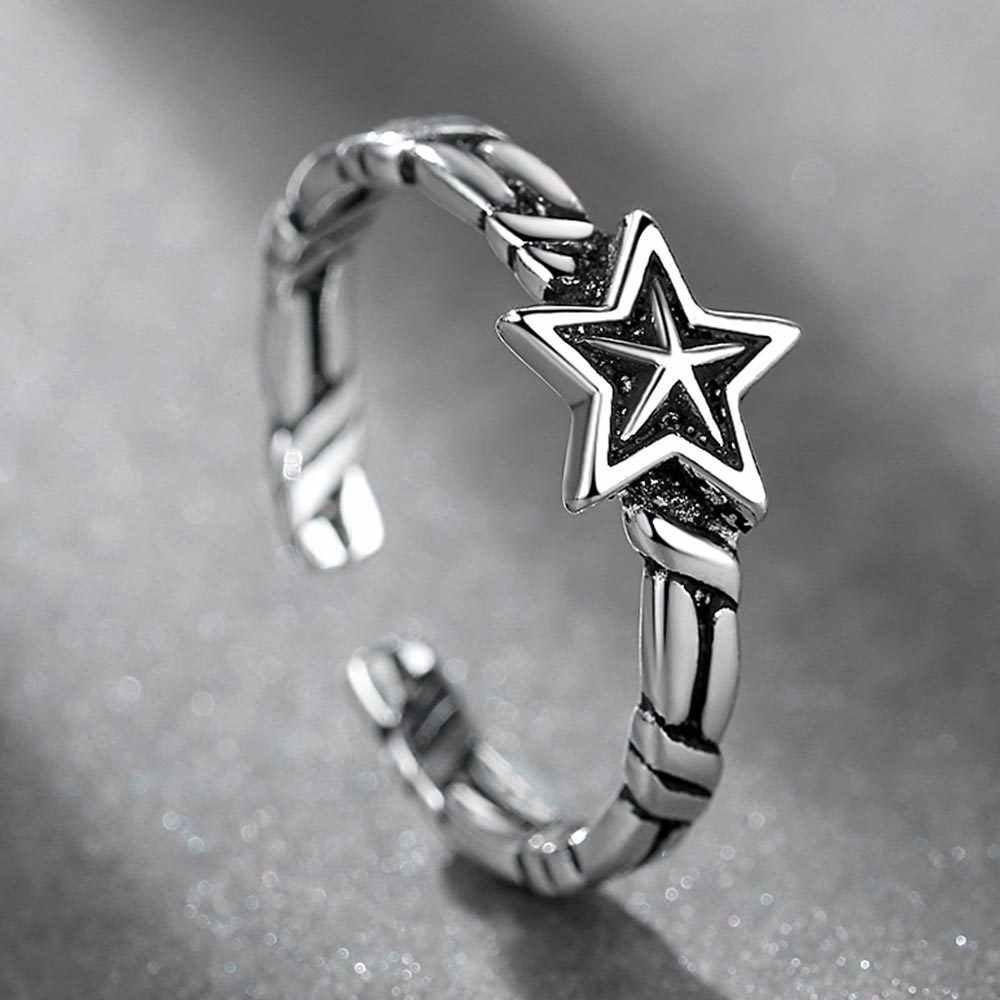 VINTAGE Handmade 925 เงินสเตอร์ลิงแหวนผู้ชายผู้หญิงปรับขนาดฟรีเงินไทยแหวนบุคลิกภาพของขวัญ AH044-5