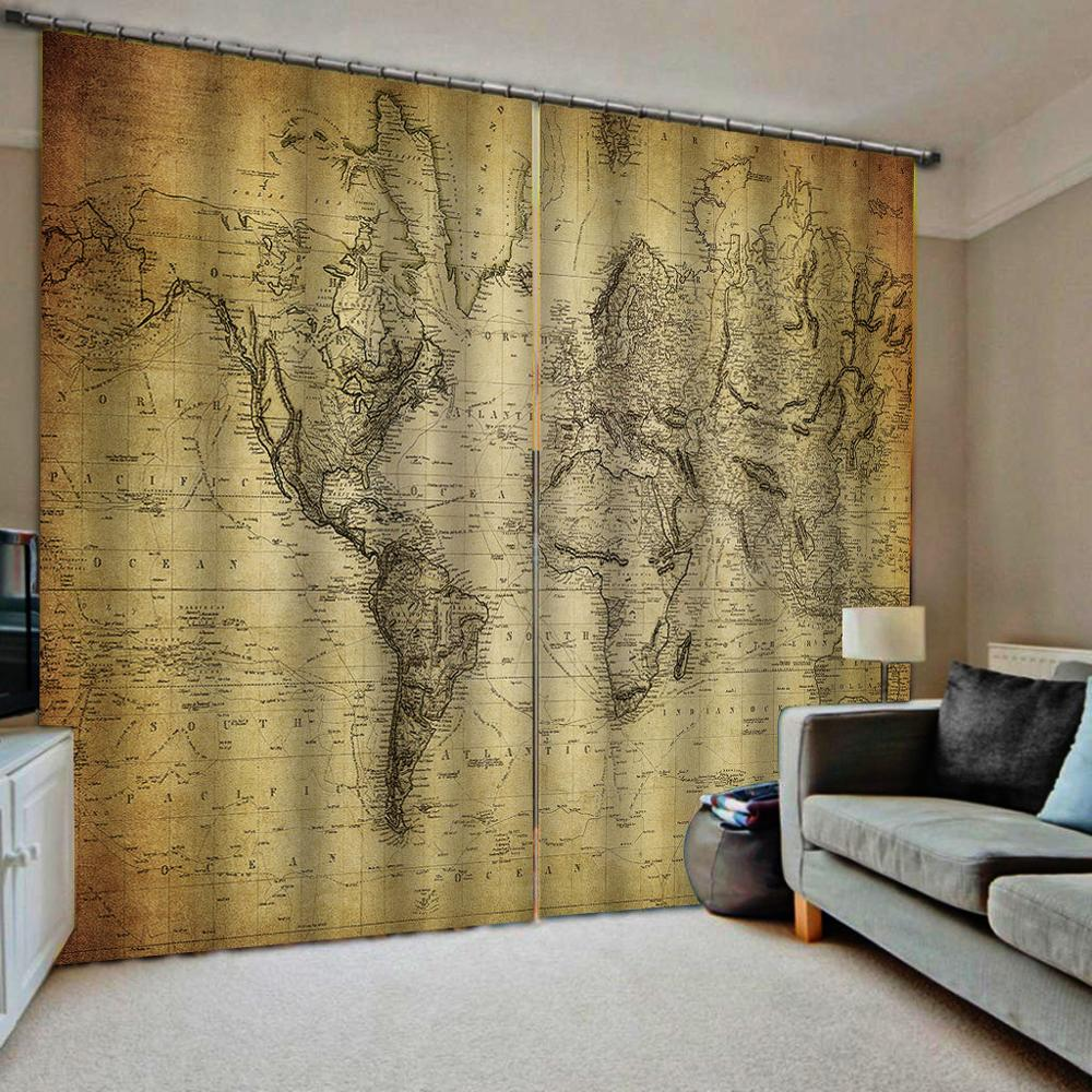 Retro Curtains Yellow Map Window Curtains For Living Room Bedroom Blackout Curtains