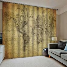 retro curtains yellow map window for living room bedroom blackout