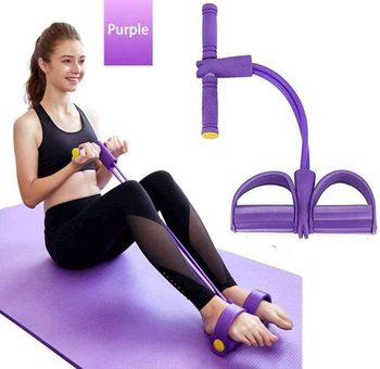 Newly 4 Tube Fitness Elastic Sit Up Pull Rope Abdominal Exerciser Pedal Exerciser Resistance Band Yoga Fitness Equipments эспандер liveup dual tube exerciser