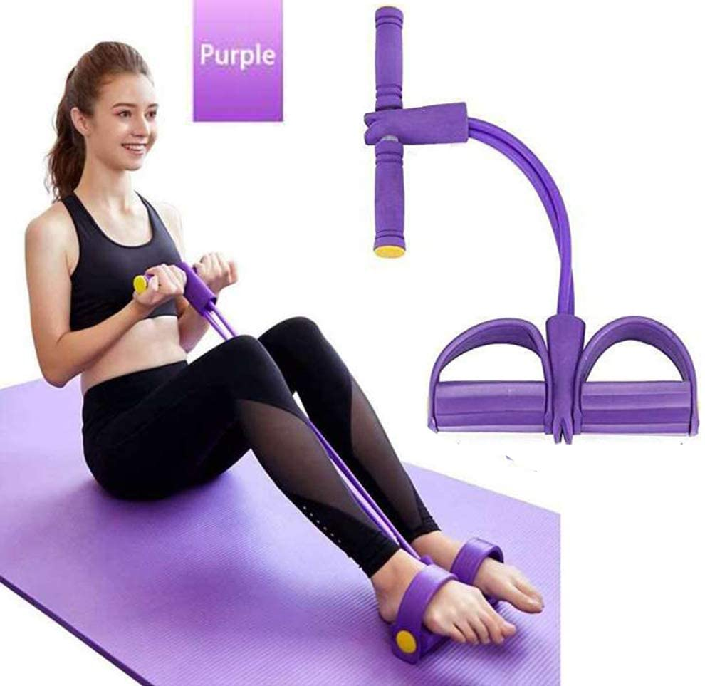 Newly <font><b>4</b></font> <font><b>Tube</b></font> <font><b>Fitness</b></font> Elastic Sit Up Pull <font><b>Rope</b></font> Abdominal Exerciser Pedal Exerciser Resistance Band Yoga <font><b>Fitness</b></font> Equipments image