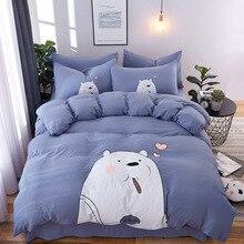 Liv-Esthete Love белый медведь мультфильм Постельное белье Синий пододеяльник Покрывало плоский лист двойной королева король постельное белье для взрослых детей