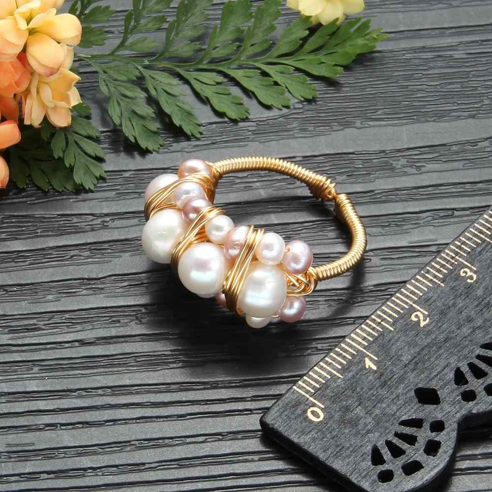 ใหม่แหวนไข่มุกน้ำจืด Pearl แหวนสำหรับงานแต่งงานของขวัญการออกแบบเดิมทำด้วยมือแหวนไข่มุกเครื่องประดับ Fine