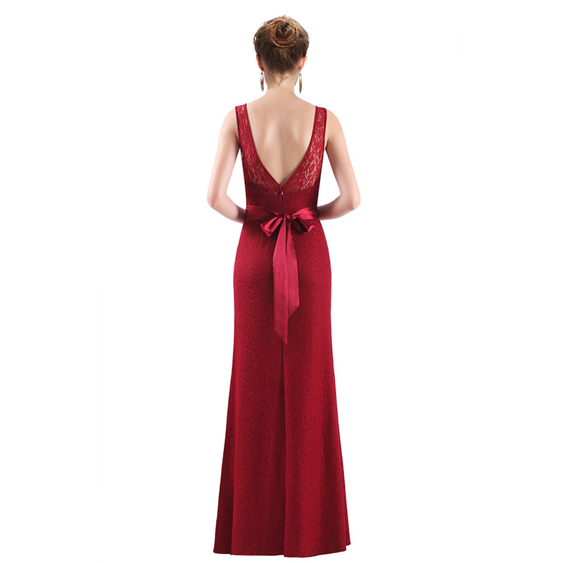 It's Yiiya Evening Dresses O-Neck Sleeveless Plus Size Floor-Length Robe De Soiree C421 Backless Lace A-Line Women Party Dresses