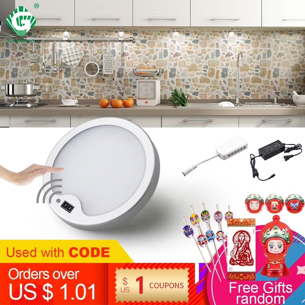 PIR 12V Under Cabinet Light Kitchen Motion Sensor LED Wardrobe Lighting Cabinet Lamp Cupboard Lights Closet Wardrobe Puck Round