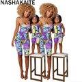 NASHAKAITE Sommer Mutter Und Tochter Kleidung Schmetterling Drucken Sling Overall Sleeveless Backless Strampler Mama Und Mich Outfits