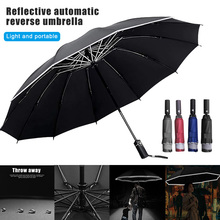 Newly Automatic Umbrella Reverse Folding Business Umbrellas Windproof Portable Rain&Sun BFE88