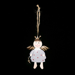 Iron Painted Star Angel Pendant Christmas Decoration 2020 New Year Decora Child Toy Navidad Gift Christmas Decorations for Home 4