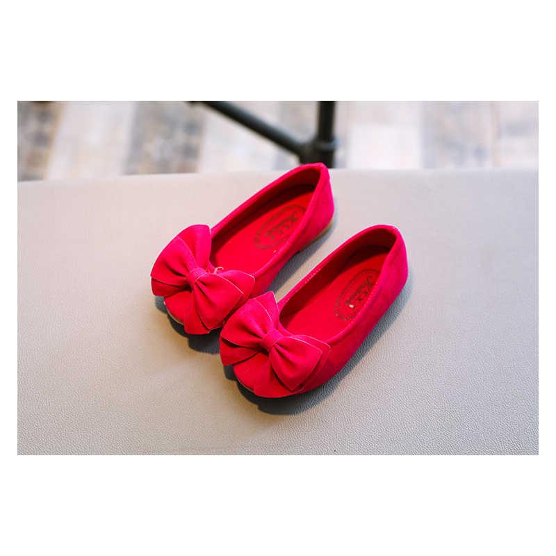 Adorável crianças meninas princesa sapatos crianças menina casual único bowknot sapatos macio deslizamento-on