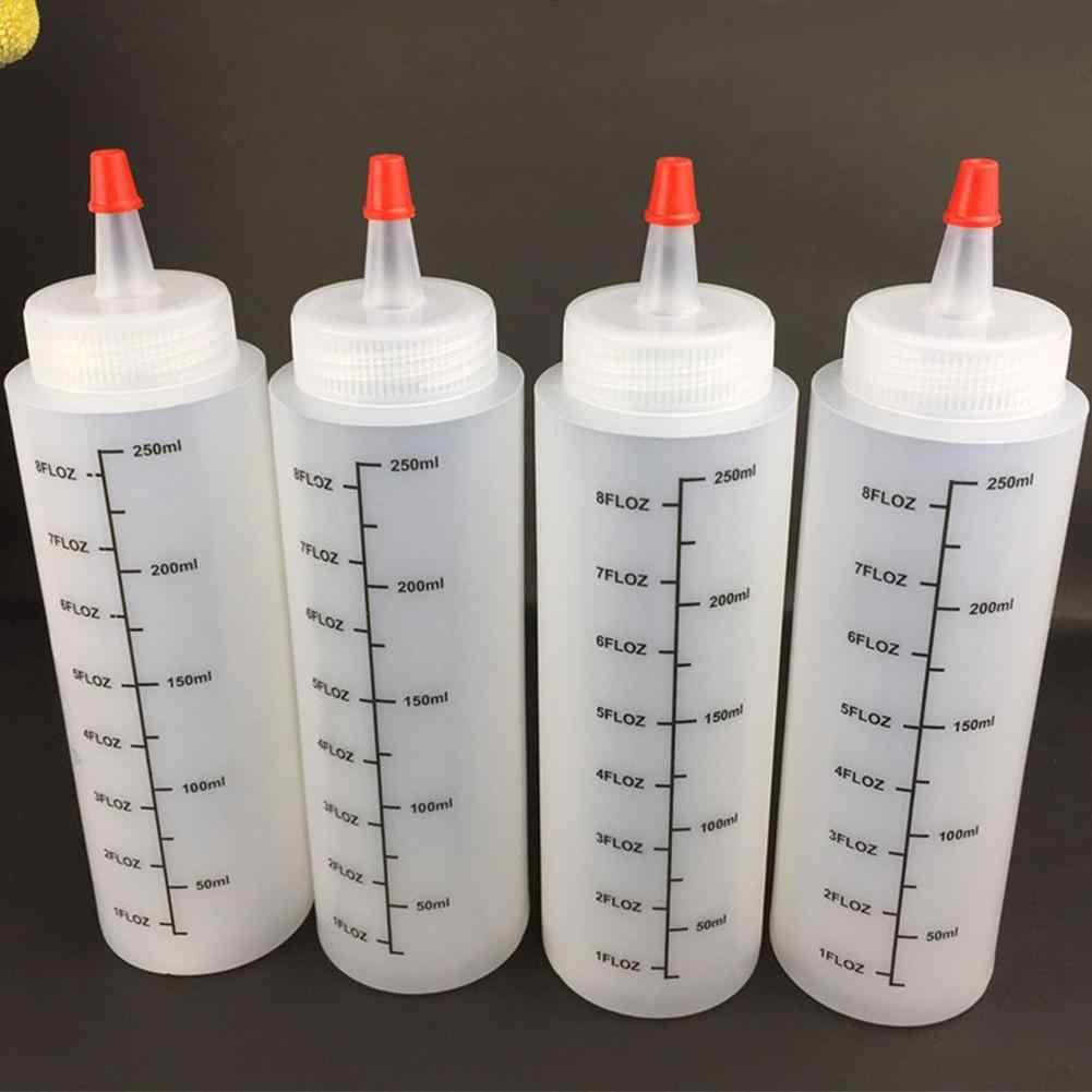 5 قطعة 250 مللي إبرة بلاستيكية الانف زجاجة مع مقياس زجاحة ضغط مع مانعة للتسرب كاب زجاجة صلصة سلطة زجاجة