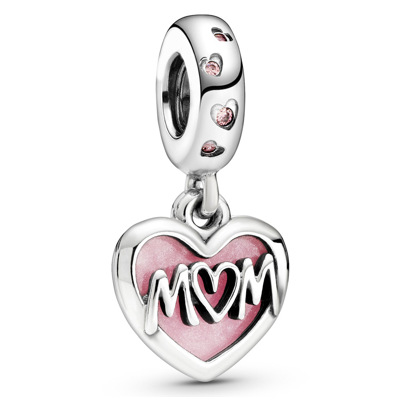 New 925 Sterling Silver Bead Charm Pink Enamel Mom Script Heart With I Love You Pendant Beads Fit Pandora Bracelet Diy Jewelry(China)