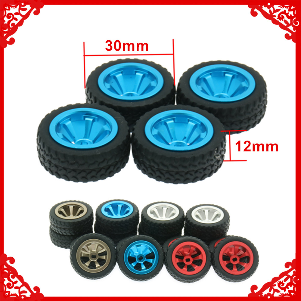4PCS Alloy <font><b>RC</b></font> Tires & <font><b>Wheels</b></font> For <font><b>Rc</b></font> Hobby Model Car 1/28 Wltoy K969 K989 P929 Drift <font><b>Rally</b></font> Bigfoot Kyosho Mini-Z Mini-Q k989-53 image