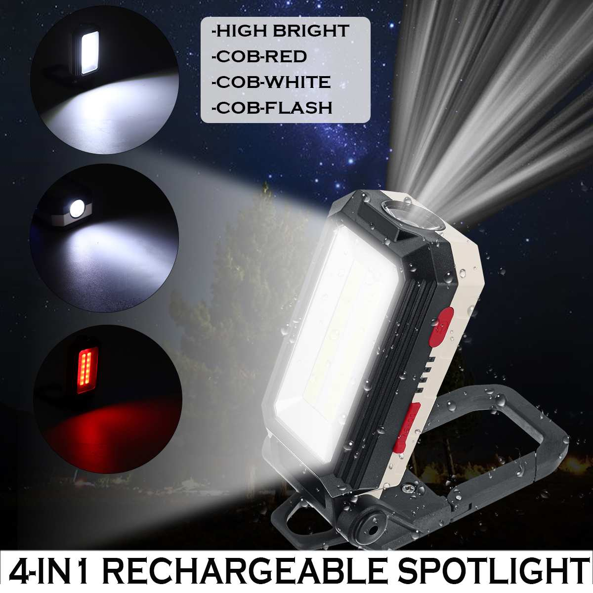 4 In 1Portable Spotlight Working Light Rechargeable LED COB Camping Work Inspection Light Lamp Hand Hook Clip Torch Magnetic