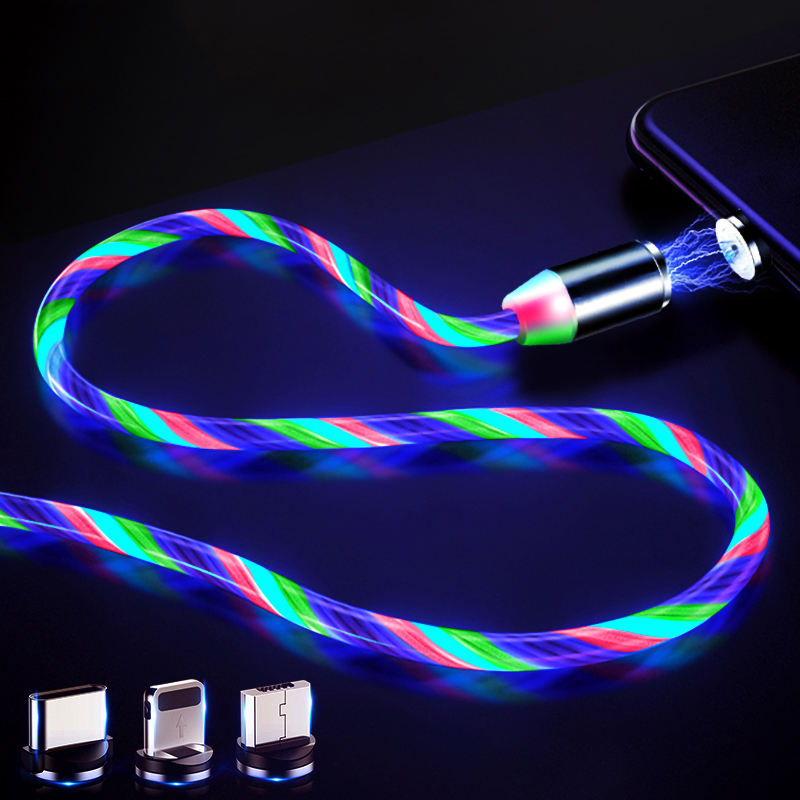 Flow Luminous Lighting Magnetic 8 Pin USB Cable For iPhone XR X 7 8 Micro USB Charger Fast Charging Magnet Charge USB C Type C-in Mobile Phone Cables from Cellphones & Telecommunications on AliExpress