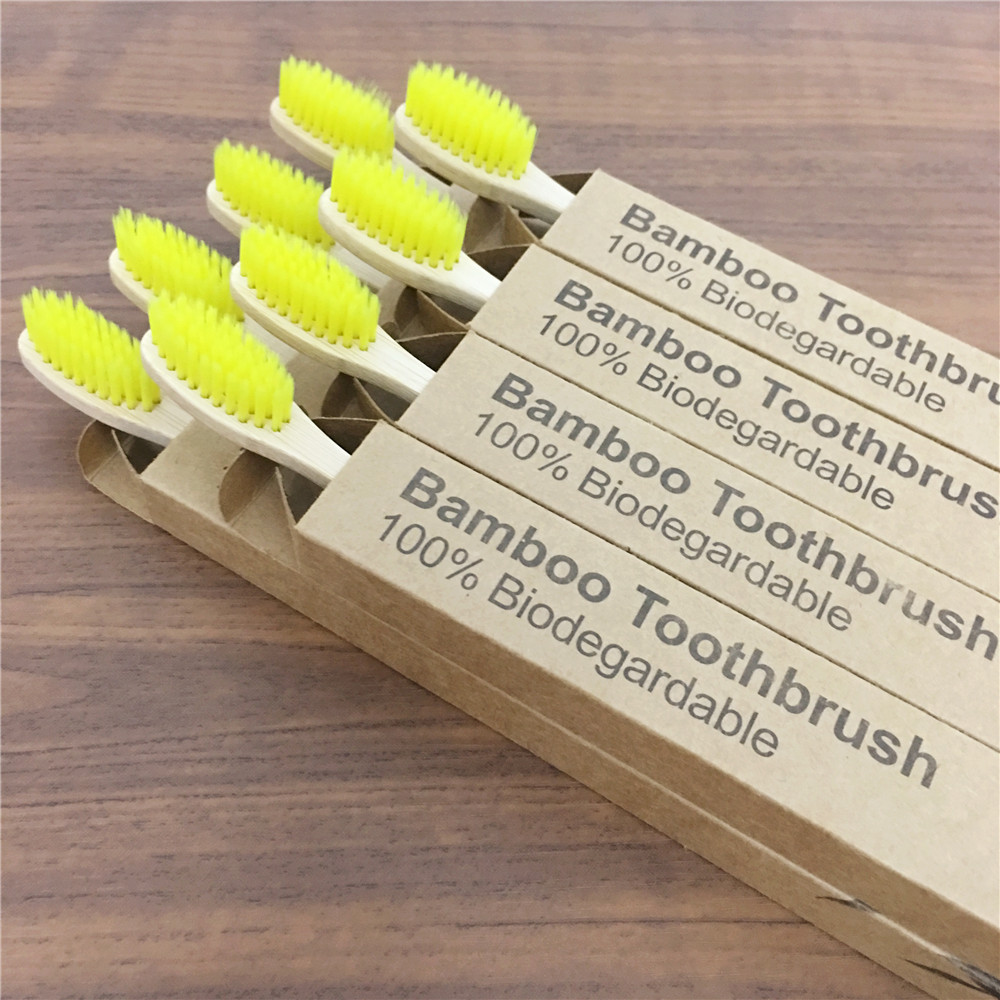 6 pack Adult Bamboo Toothbrushes Soft Bristles eco friendly cepillo dientes bambu Oral Care Toothbrush clareador de dente image