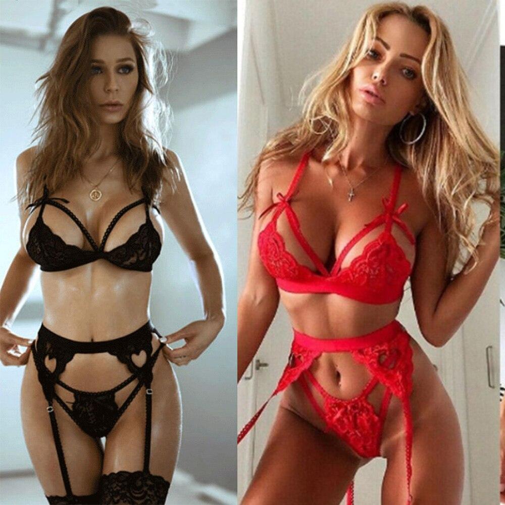 Hot Women Sexy Lace Sheer Bra Set Underwear Women Girls Wireless Babydoll Erotic Lingerie Dress Bra Briefs Set Plus Size S-3XL