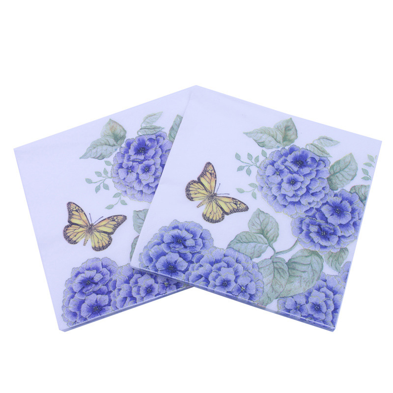 [Currently Available] Color Printed Napkin Purple Butterfly Paper Towel Party Decoration Creative Tissue Cross Border Supply Of