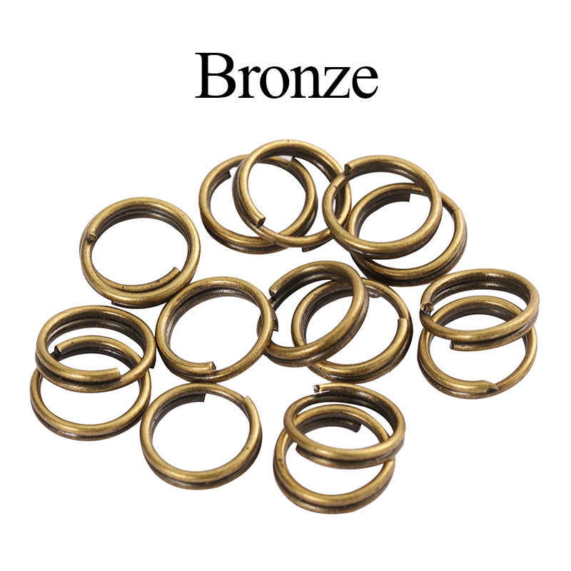 200pcs 5/6/7/8/10/12/14mm כפול לולאה מפתח טבעת פיצול טבעת אבזם עבור DiY תכשיטי ביצוע Keychain צמיד מחבר ממצאי