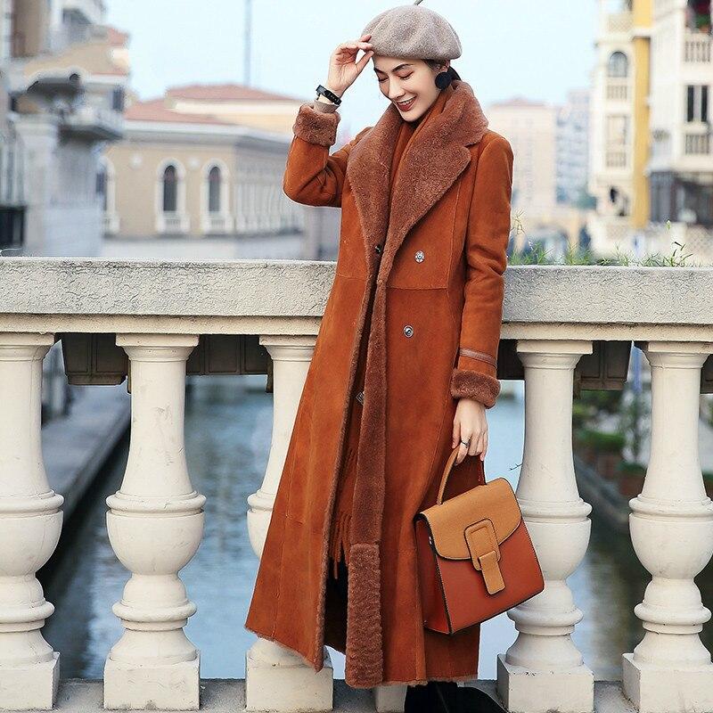 Real Fur Coat Women Sheep Shearling Winter Coat For Womens Clothing Korean Slim Long Wool Coats  Manteau Femme XS17D88-11 YY759