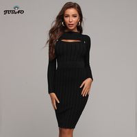 business dress for women office long sleeve black bodycon Knitted knee length cut out dresses elegant pencil High waisted autumn