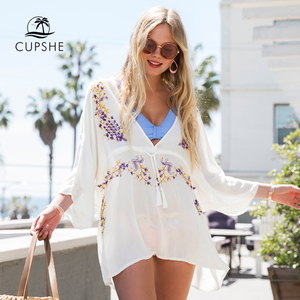 CUPSHE White V-neck Bikini Cover Up with Tassels Women Sexy Long Sleeve Beach Tunic Dress 2020 Summer Bathing Suit Beachwear