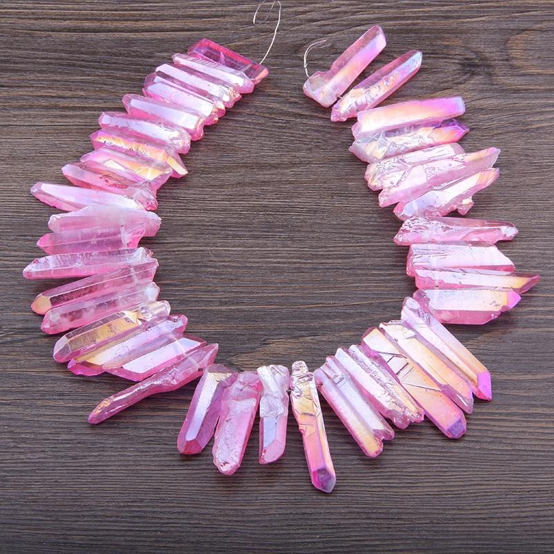 Perles de bâton de Quartz en titane Vinswet violet rose AB, pendentifs à pointe de Quartz brut, collier de Briolettes en cristal brut foré