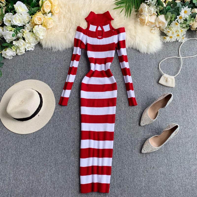 NiceMix 2019 Winter New Female Halter Hollow Out Long Sleeve Knit Sheath Dress Women's Striped Waist Elegant Package Hip Knitted