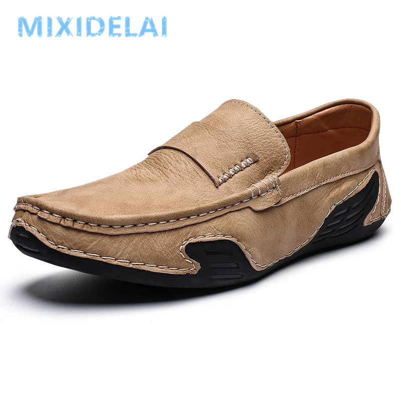 2020 New Fashion Style Leather Spring Casual Shoes Men Shoes Handmade Vintage Loafers Flats Hot Sale Moccasins Big Size 39-46