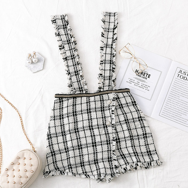 Mossha Asymmetry Vintage High waist tweed skirts womens 2019 autumn winter Fringe strap button culottes female Sexy party skirt 6