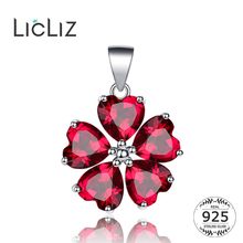 LicLiz New 925 Sterling Silver Crystal Quartz Flower Necklaces Pendants for Women DIY Red Stone Love Heart Jewelry Charms LP0241