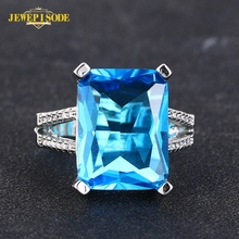 Jewepisode Blue Topaz Aquamarine Gemstone Party Ring Real 925 Sterling Silver Rings for Women Fine Jewelry Drop Shipping Gift [meibapj natural aquamarine gemstone trendy ring for women real 925 sterling silver charm fine jewelry