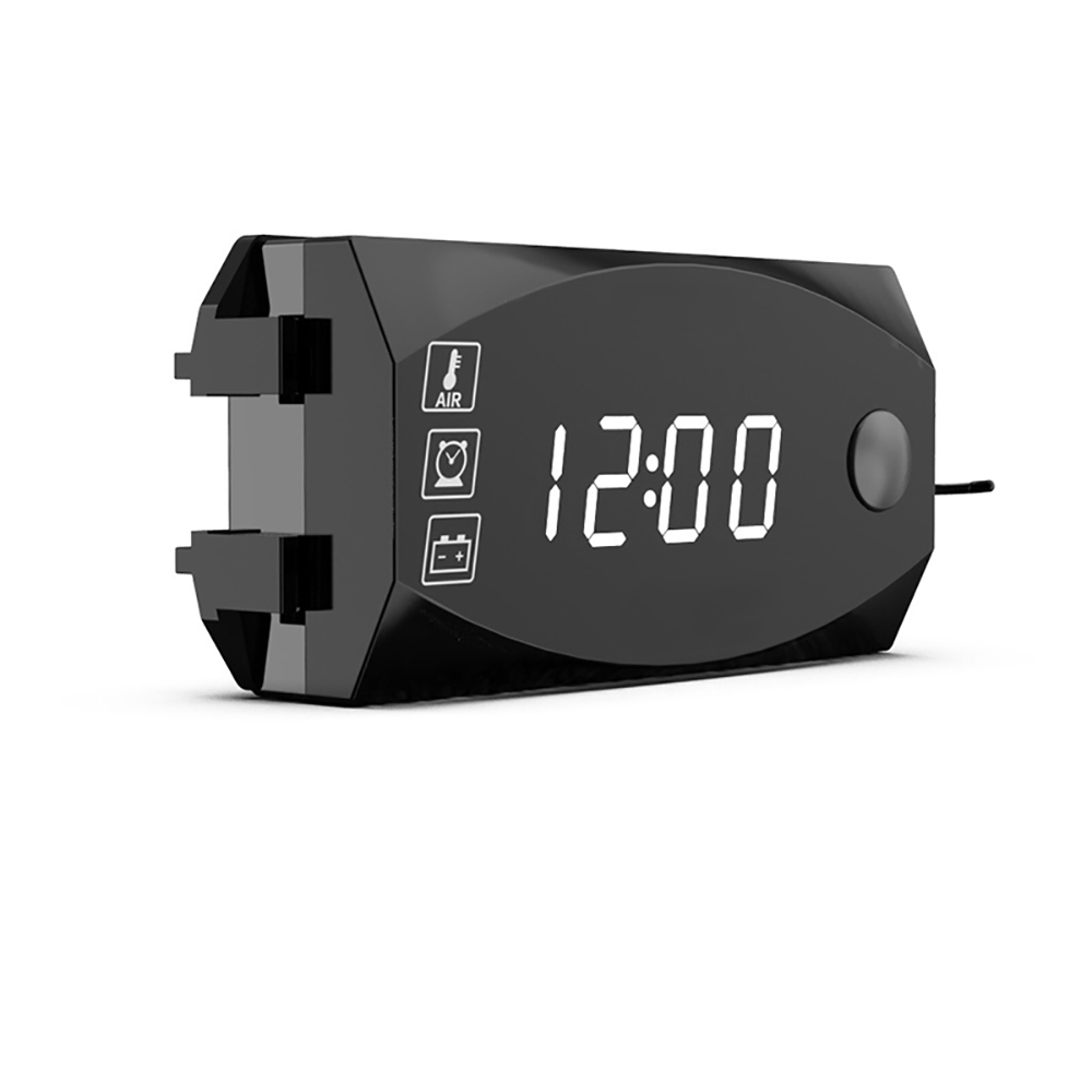 Mini 3 In 1 Digital LED Display 12V Meters Voltmeter Clock Thermometer Indicator Gauge Panel Meter For Car Motorcycle