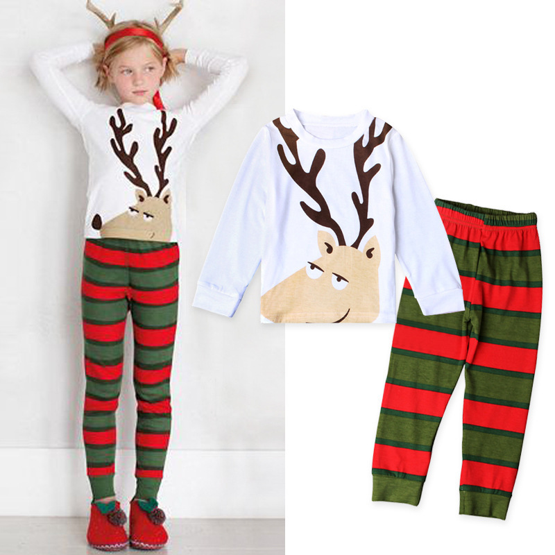 Women's Children Europe And America Spring And Autumn Christmas Deer Stripes Tracksuit Piece Childrenswear In