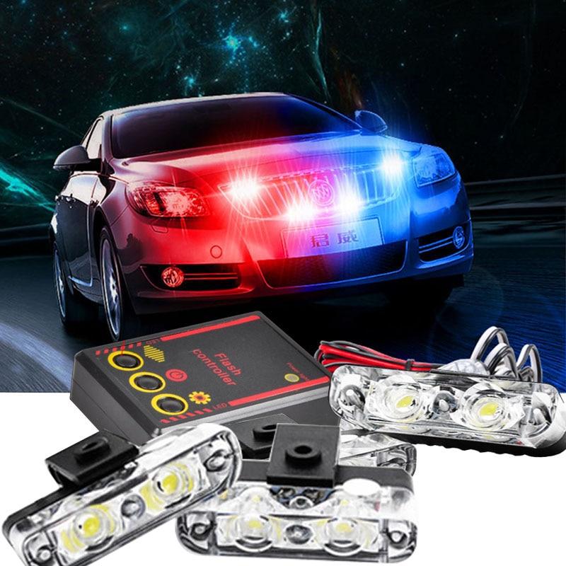 1Set 4 IN 1 led flashing Mini Emergency Vehicle LED Warning Lights 12V Waterproof Red and blue led light police strobe light