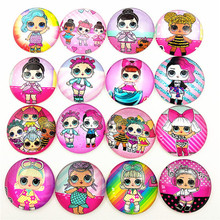 50pcs New design Cartoons doll,Unicorn, Long hair princess, mermaid, KT cats,mouse , 20mm Glass Cabochon for girl DIY  jewelry