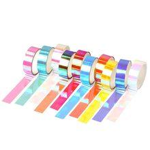 Cinta láser de Color 3m, decoración de arcoíris con purpurina, bricolaje, álbum de recortes, papelería, cinta adhesiva aleatoria, Color sólido Simple, 10 unidades