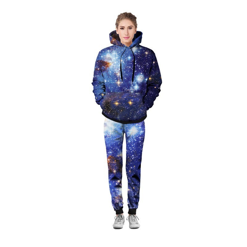 Mens Casual Outside Jogging Tracksuit Fashion Sky Printed Two Piece Set Autumn Unisex Long Sleeve Hoody Sweatshirt Deporte Suit