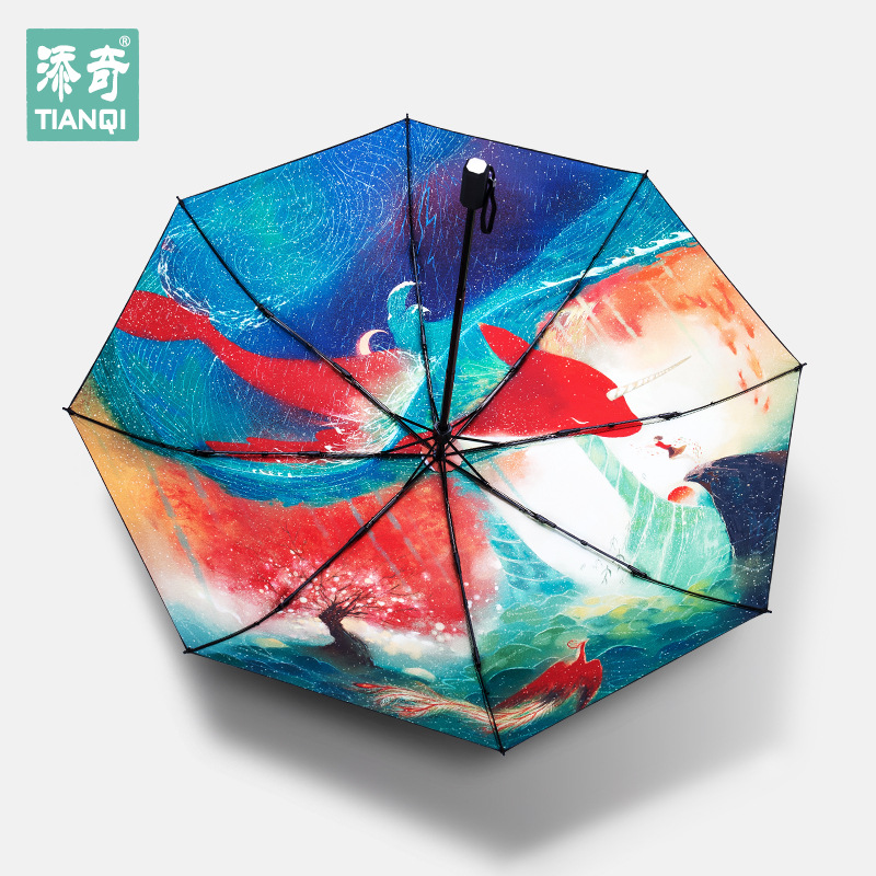 2017 New Style Big Fish Begonia Rain Or Shine Dual Purpose Umbrella Strengthen Sun-resistant UV-Protection Vinyl Umbrella A Gene