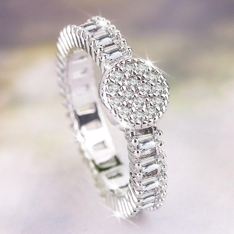 925 Sterling Silver 2 Carats Diamond Ring For Women Anillos De Wedding Bizuteria Silver 925 Jewelry Diamond Gemstone Ring Box