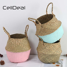 CellDeal Vintage Foldable Handmade Wickerwork Storage Basket Hanging Decorative Basket Garden Flower Pot Seagrass Laundry Basket