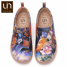 UIN Throw Me a Kiss Art Painted Canvas Loafers Women Comfort Flat Shoes Soft Walking Sneakers Fashion Travel Lightweight