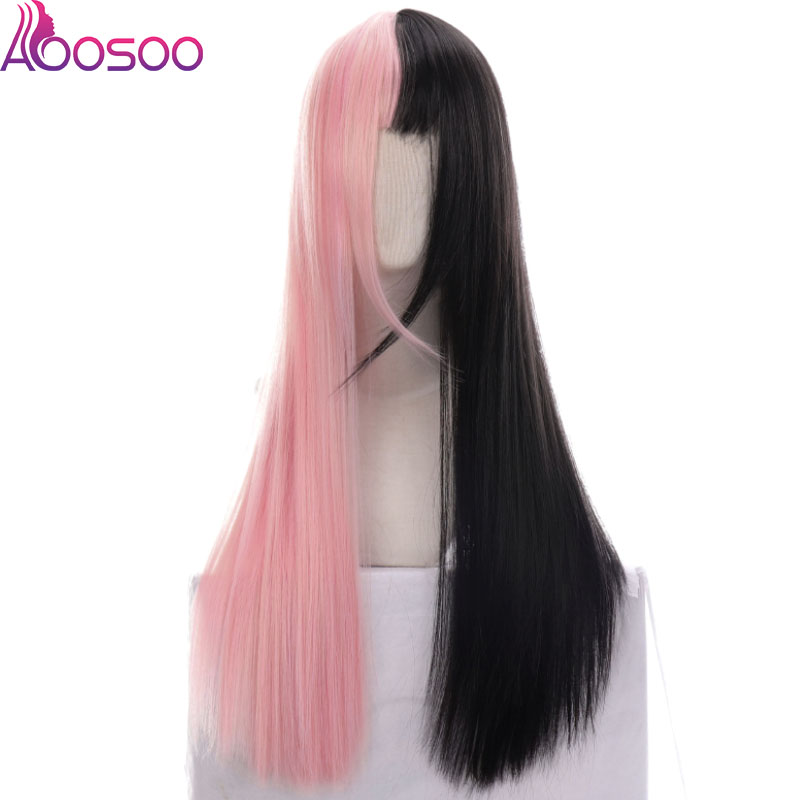 Lolite  Black Powder Pink White Double Color Wig Female Long Straight Hair Harajuku Goth Wind Lolite Two-color Full Wig Cos Wig